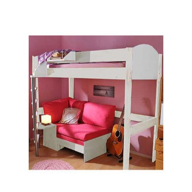 Stompa Casa Kids White Highsleeper Bed with Pink Sofa Bed