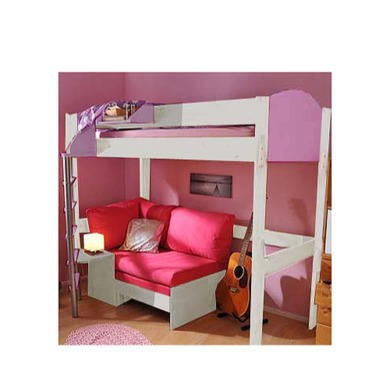 Stompa Casa Kids White Highsleeper Bed in Lilac with Pink Sofa Bed