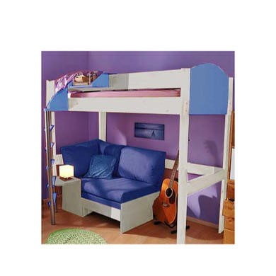 Stompa Casa Kids White Highsleeper Bed in Blue with Pink Sofa Bed