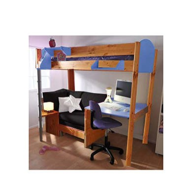 Stompa Casa Kids Natural Highsleeper Bed in Blue with Pink Sofa Bed and Desk