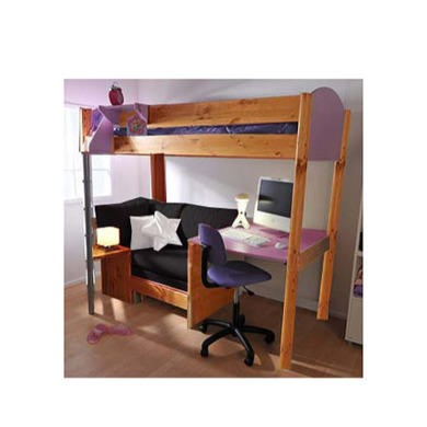 Stompa Combo Kids Natural Highsleeper Bed in Lilac with Blue Denim Sofa Bed and Desk