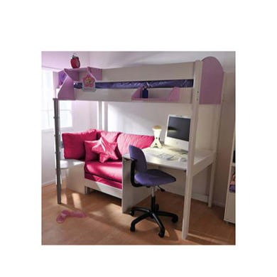 Stompa Casa Kids White Highsleeper Bed in Lilac with Pink Sofa Bed and Desk