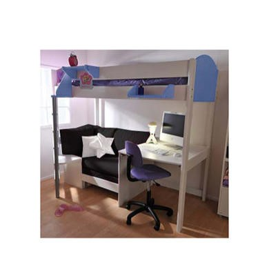 Stompa Casa Kids White Highsleeper Bed in Blue with Pink Sofa Bed and Desk