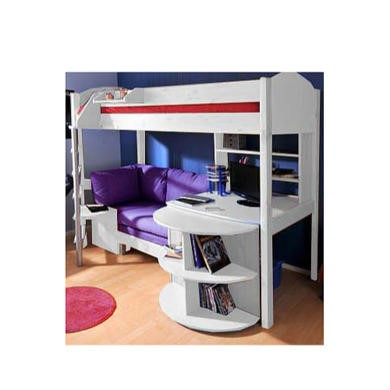 Stompa combo kids white highsleeper bed with blue denim Bed and desk combo furniture