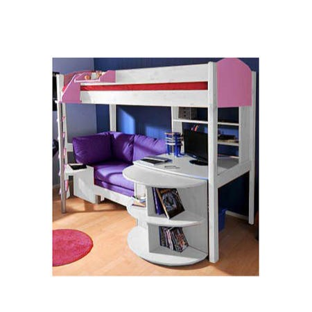 Outstanding Stompa Casa Kids White Highsleeper Bed In Lilac With Pink Sofa Bed Desk And Shelving Gamerscity Chair Design For Home Gamerscityorg