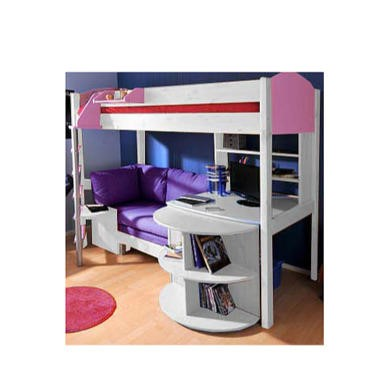 Stompa Casa Kids White Highsleeper Bed in Lilac with Pink Sofa Bed Desk and Shelving