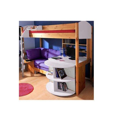 Stompa Casa Kids Natural Highsleeper Bed In White With Pink Sofa Bed Desk Shelving And Storage