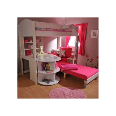 Stompa Combo Kids White Highsleeper Bed With Pink Sofa Bed Desk Shelving And Storage