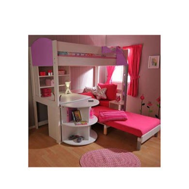Stompa Combo Kids White Highsleeper Bed In Lilac With Pink Sofa Bed Desk Shelving And Storage