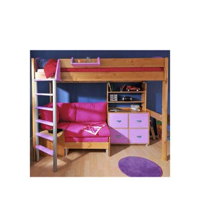 Stompa Combo Kids Natural Highsleeper Bed In Lilac With Lilac Denim Sofa Bed Shelving And