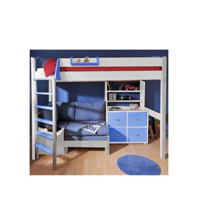 Stompa Combo Kids White Highsleeper Bed In Blue With Lilac Denim Sofa Bed Shelving And Storage