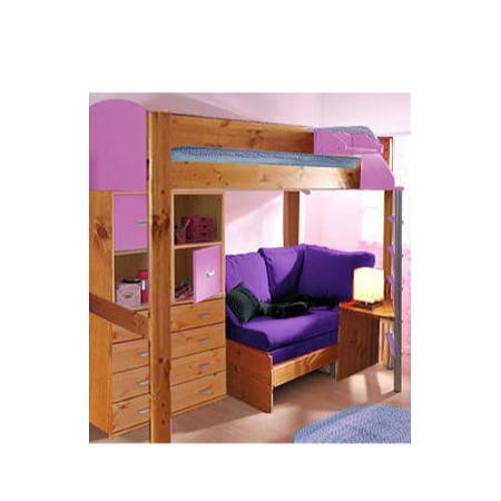 Stompa Combo Kids Natural Highsleeper Bed In Lilac With