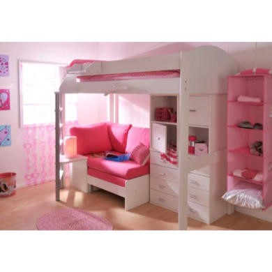 Stompa Casa Kids White Highsleeper Bed With Pink Sofa Bed Chest And Storage Furniture123