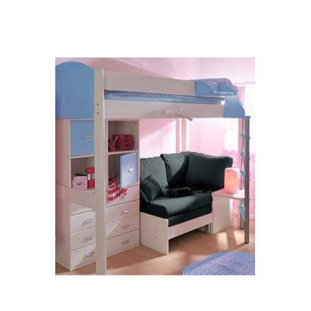 Stompa combo kids white highsleeper bed in blue with sofa for White divan bed with storage