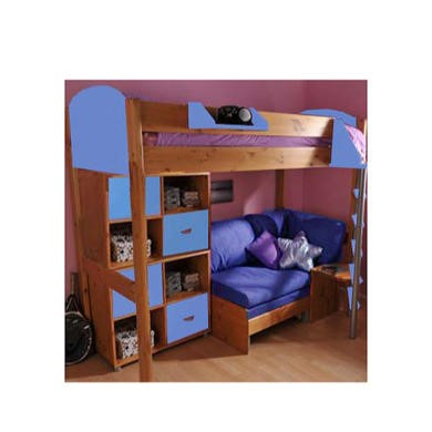 Stompa Casa Kids Natural Highsleeper Bed in Blue with Pink Sofa Bed and Double Storage