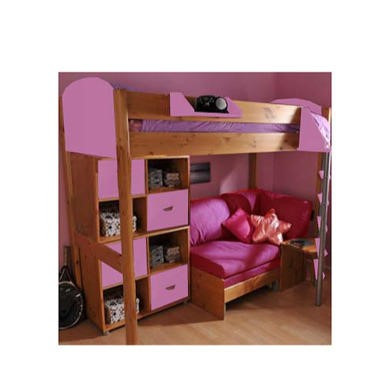 Stompa casa kids natural highsleeper bed in lilac with for Double divan bed with storage sale