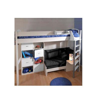 Stompa Combo Kids White Highsleeper Bed with Blue Denim Sofa Bed and Double Storage