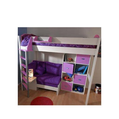 Stompa Combo Kids White Highsleeper Bed in Lilac with Lilac Sofa Bed and Double Storage
