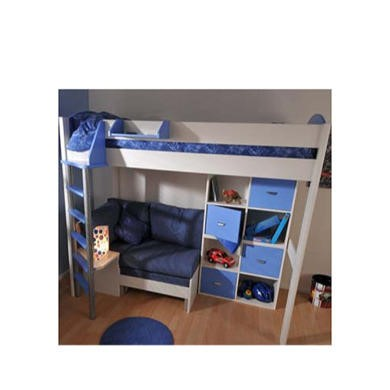 Stompa Combo Kids White Highsleeper Bed in Blue with Lilac Denim Sofa Bed and Double Storage