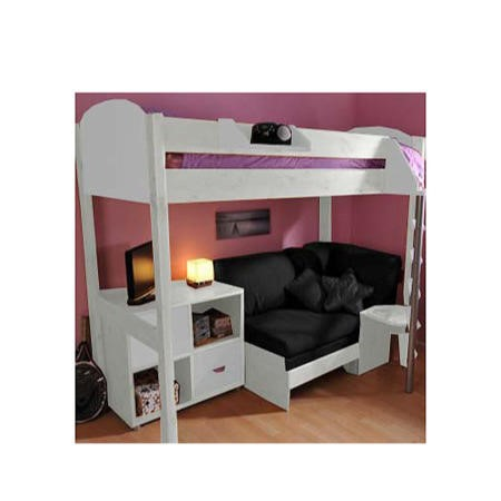 Stompa Combo Kids White Highsleeper Bed with Black Sofa Bed and