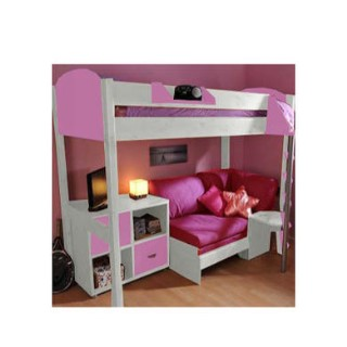 Stompa Casa Kids White Highsleeper Bed In Lilac With Pink Sofa Bed And Storage Furniture123