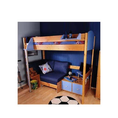 Stompa Casa Kids Natural Highsleeper Bed in Blue with Lilac Denim Sofa Bed and TV Unit