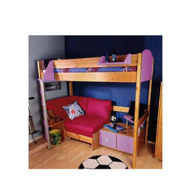 Stompa Combo Kids Natural Highsleeper Bed in Lilac with Pink Sofa Bed and TV Unit