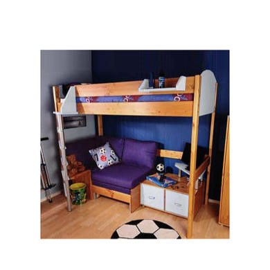 Stompa Casa Kids Natural Highsleeper Bed in White with Pink Sofa Bed and TV Unit