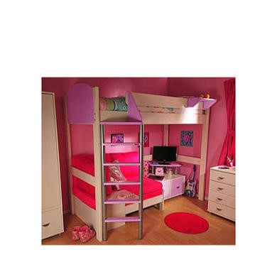 Stompa Combo Kids White Highsleeper Bed in Lilac with Pink Sofa Bed and TV Unit