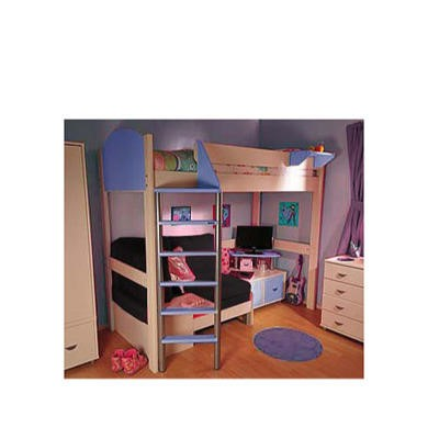 Stompa Combo Kids White Highsleeper Bed in Blue with Blue Denim Sofa Bed and TV Unit