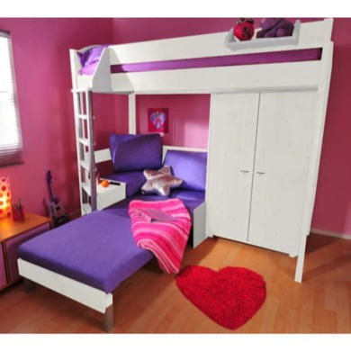 Stompa Combo Kids White Highsleeper Bed with Black Sofa Bed and Wardrobe