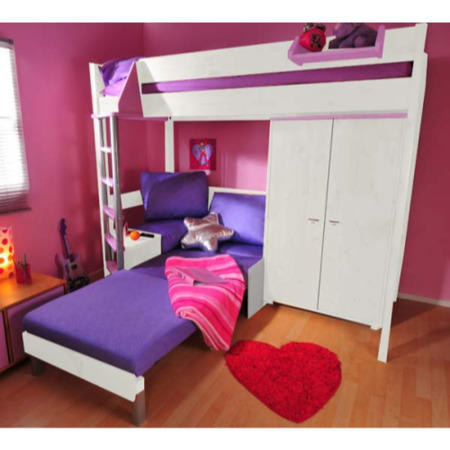 Stompa Combo Kids White Highsleeper Bed In Lilac With Pink Sofa Bed And Wardrobe