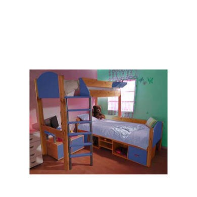 Stompa Casa Kids Natural Storage Bunk Bed in Blue