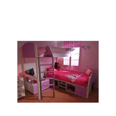 Stompa Casa Kids White Storage Bunk Bed in Lilac