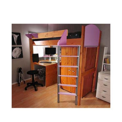 Stompa Casa Kids Natural Highsleeper Bed in Lilac with Desk and Wardrobe