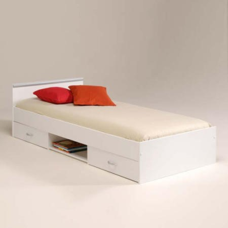Abe Teens Storage Single Bed Frame In White Special