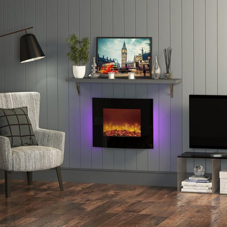 Quattro Wall Mounted Curved Black Glass Electric Fire - Be Modern Range