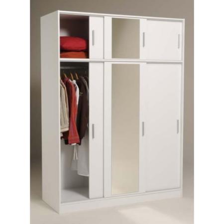 Alora sliding 3 door mirrored wardrobe in white furniture123 for Furniture 123 wardrobes