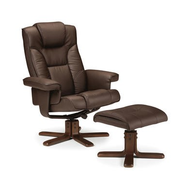 Julian Bowen Malmo Swivel Recliner And Footstool In Brown faux leather