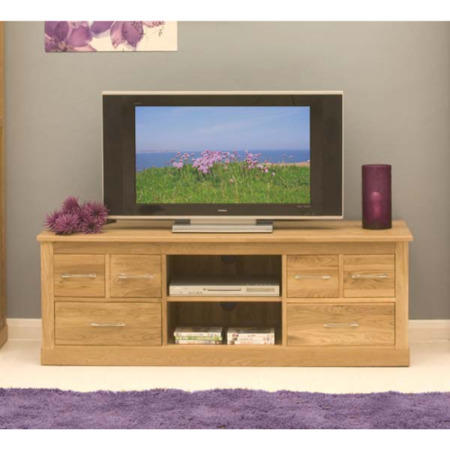 baumhaus mobel solid oak 6 drawer widescreen tv cabinet fol066875