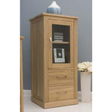 Baumhaus Mobel Solid Oak Glazed Hifi Cabinet