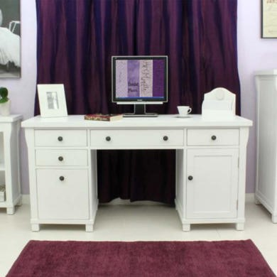Baumhaus Hampton White Solid Ash Twin Pedestal Desk