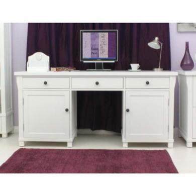 Baumhaus Hampton White Solid Ash Twin Pedestal Hideaway Desk