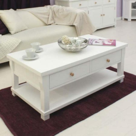Baumhaus Hampton White Solid Ash Storage Rectangular Coffee Table Furniture123