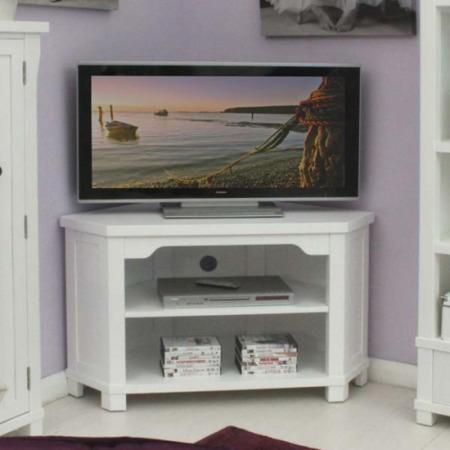 Baumhaus Hampton White Solid Ash Corner Tv Unit Furniture123