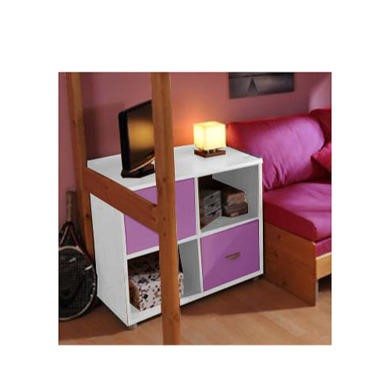FOL067010 Stompa Combo Kids White 2 Door 4 Shelf Storage Cubes in Lilac