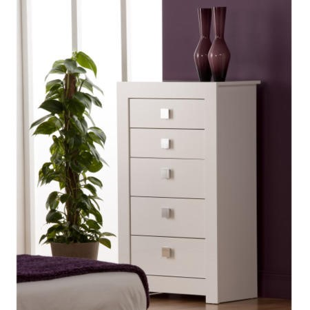 World Furniture Bari High Gloss White 5 Drawer Chest