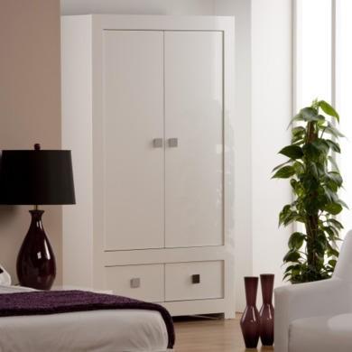 World Furniture Bari High Gloss White 2 Door 2 Drawer Wardrobe