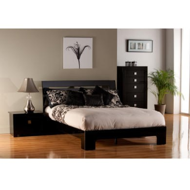 World Furniture Modena Black High Gloss Double Bed