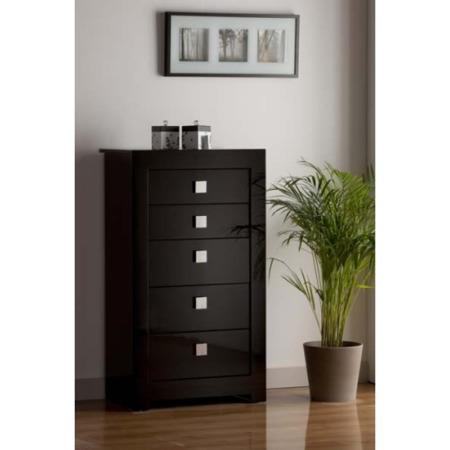 World Furniture Modena High Gloss Black 5 Drawer Chest